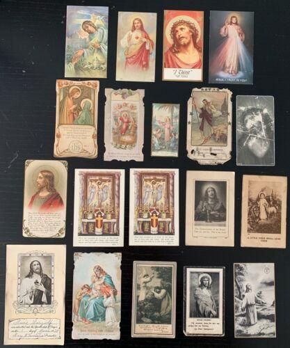 Vintage Lot of 19 Catholic Holy/Prayer/Indulgence Cards - Jesus Christ
