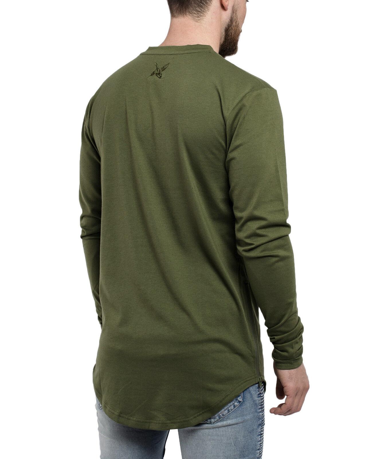 7130d3b97dd7b4 Blackskies Side Zip Longsleeve Shirt Olive Longshirt Herren Sweater ...
