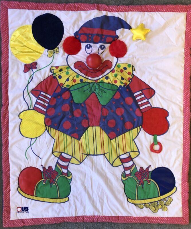 "Vintage Clown Blanket Quilt Play Mat Textured 90s 49""X42"" Circus Kids Bedding"