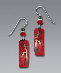 Adajio RED Column EARRINGS Asian Overlay Hematite STERLING SILVER Dangle + Box
