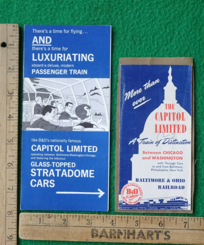 Baltimore & Ohio RR B&ORR 2 Capital Limited Brochures