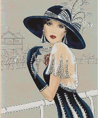 Art Deco Lady with Large Hat Counted Cross Stitch COMPLETE KIT #1-197