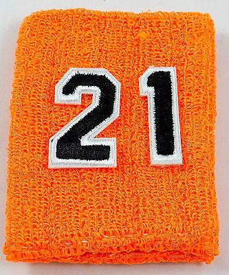 One Custom Number Orange Black Wristband Sweatband Football Baseball Basketball