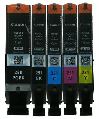 5PK GENUINE Canon PGI-250 CLI-251 Setup Ink for MG6620 MG7520 MX922 iP8720