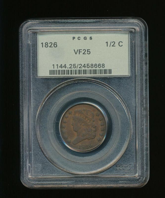 1826-P Classic Head Half Cent 1/2C PCGS VERY FINE VF 25