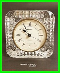 VTG Staiger Quartz Desk Mantel Clock 4 French Lead Crystal West Germany WORKING