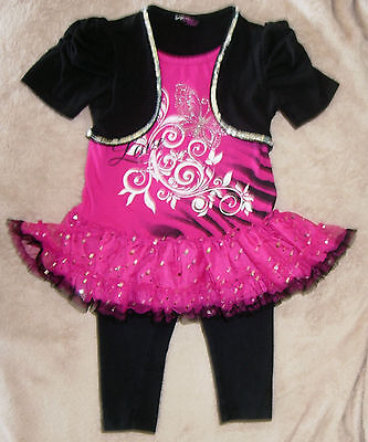 Hot Girl With Leggings (3T girls hot pink & black dress with silver sequin trim-Hanna Andersson)