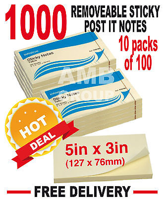 "1000 Remove Sticky Post It Notes 127mm x 76mm 5"" x 3"" (10 packs of 100)"