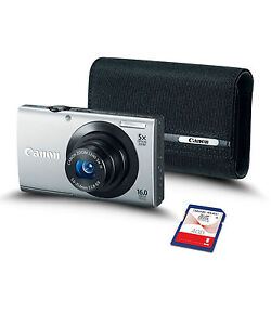 NEW Canon PowerShot A3400 IS Silver Bundle with 4GB SD Card and Canon Soft Case