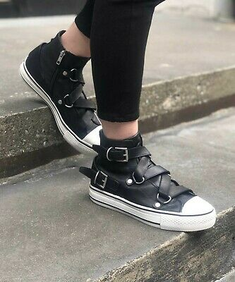 Ash Black Vanessa Buckle Trainers Leather Hi Top Sneaker Pumps Boots 4 37
