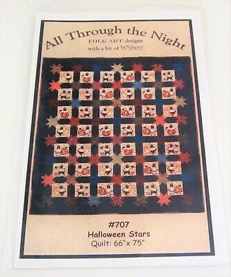 Folk Art Designs HALLOWEEN STARS Quilt Pattern with Pumpkins and Cats](Halloween Pumpkin Art And Craft)