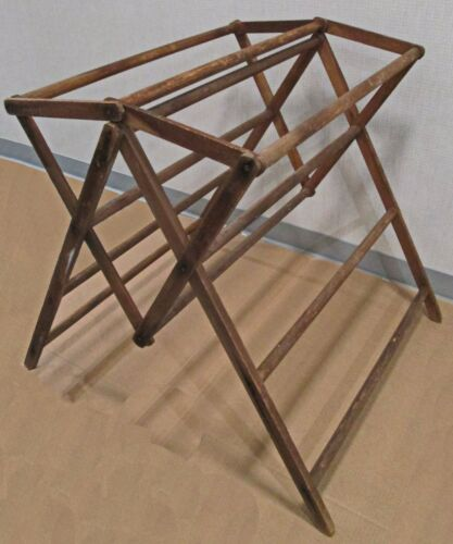 #2 VINTAGE PRIMITIVE STURDY WOODEN DRYING RACK  FOR CLOTHING, BLANKETS, QUILTS