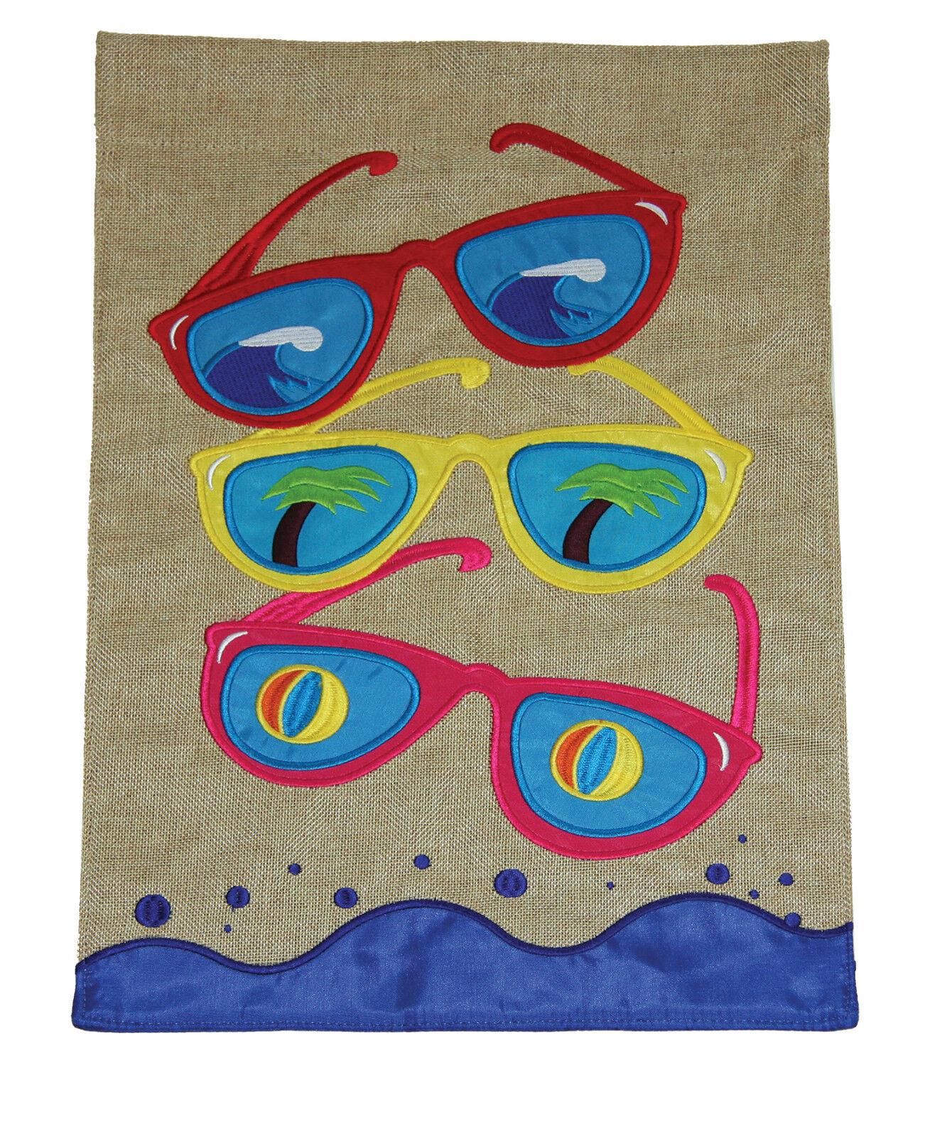 Toland Cool Shades Burlap 12 x 18 Summer Sunglasses Garden F