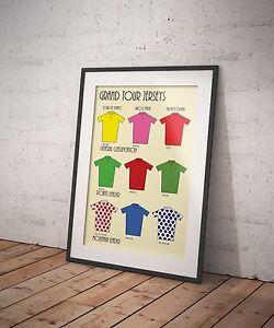 Cycling A4 Grand Tour Jerseys Tour de France TDF Giro Vuelta Artwork