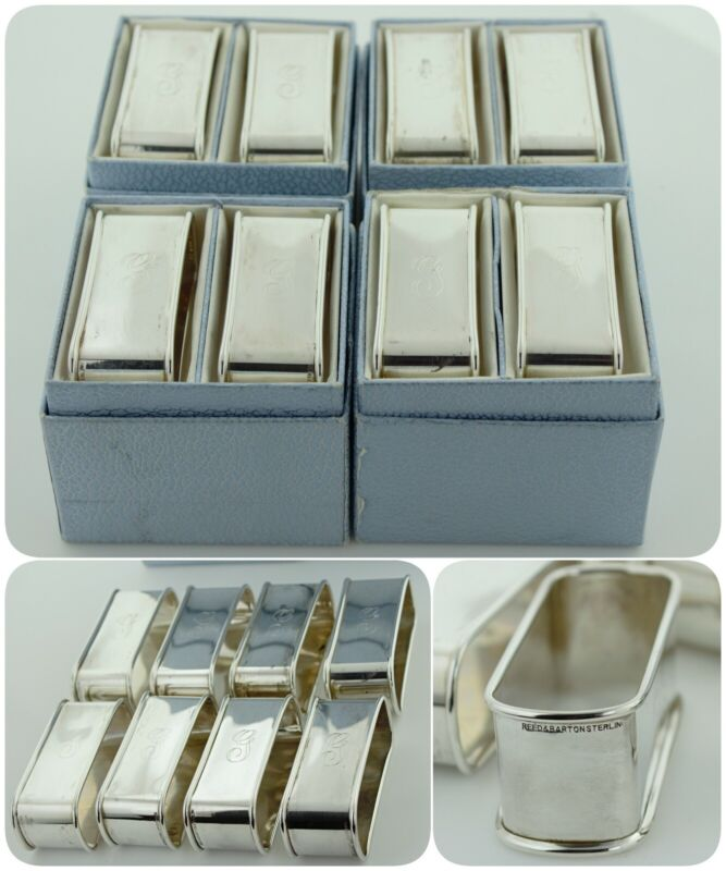 """Vintage Reed & Barton Sterling Silver Pair of Napkin Rings """"G"""" initial - MIB"""