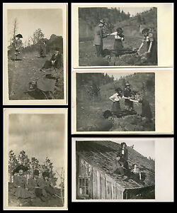 EDWARDIAN-MAN-TWO-WOMEN-PICNIC-OUTING-TRIP-FIVE-VINTAGE-REAL-PHOTO-POSTCARDS