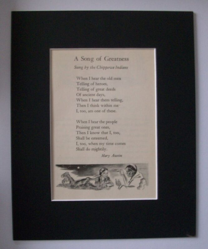 Print Song Of Greatness Mary Austin Marguerite Klink Scott Bookplate 1947 Matted