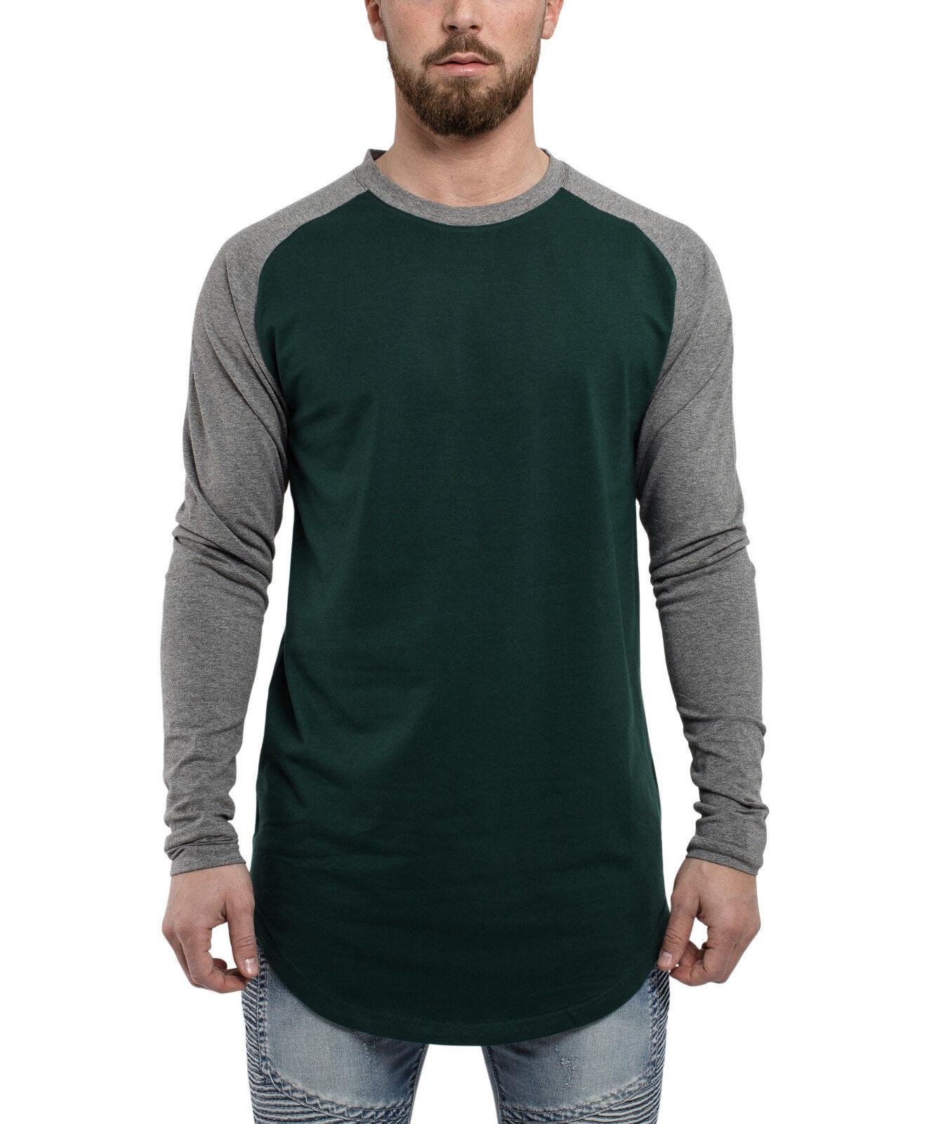 Blackskies Baseball T-Shirt Longshirt Grün Grau Longline Herren Basic Langes Tee