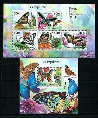 Comoros 2011 Mi#2986-90, #2994 Block 621  Butterflies  MNH MS/SS Set $28.75