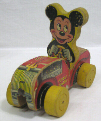 Vintage Fisher Price Toy Mickey Mouse Puddle Jumper Pull Toy Jalopy 1953