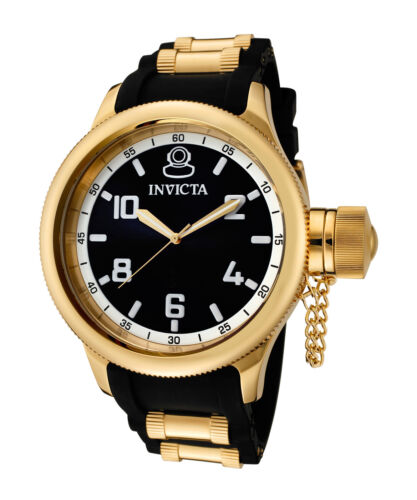 Invicta Men's 1436 Russian Diver 51.5mm Black Dial Gold-Plated Watch