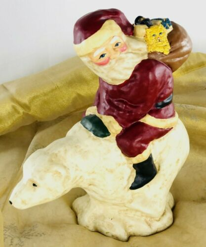 "Vintage Lefever The World of Sinterklaas Santa on Polar Bear 9"" Signed Chalkware"