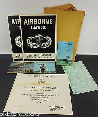 Lot 1968-70 Vietnam Era US Army - 1968 Airborne Classbooks 45th 49th Certificate
