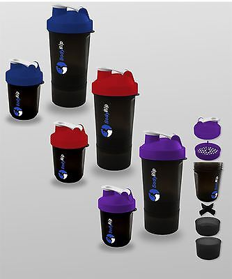 Protein Shaker Whey Bottle 400-500ml │ Blender Cup Three Compartments by