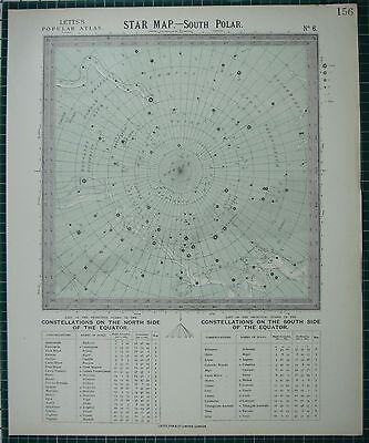 1883 LETTS STAR MAP & CONSTELLATIONS ~ SOUTH POLAR ERIDANUS CENTAURUS ARGO