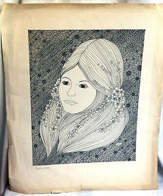 Vintage 1960's Flower Child Hippie Woman Art Print Artist Y. Davis Black & White