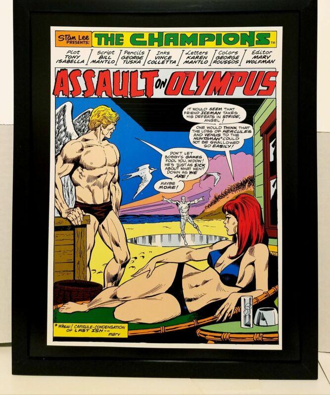 Champions #1 pg. 1 Black Widow swimsuit 11x14 FRAMED Marvel Comics Art Print Pos
