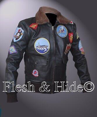 Tom Cruise Pete Maverick Top Gun Flight Bomber Jacket w Real Fur Trimmed (Tom Cruise Costume)