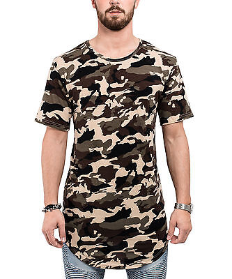 Herren Woodland Camouflage Camo (Blackskies Round Longshirt T-Shirt Camo Woodland Camouflage Oversize Long Herren)