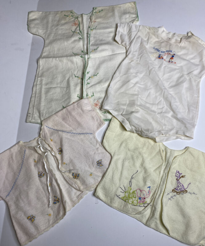 Lot Of 4 Vintage Baby / Doll Clothes Flannel Embroidery Tops Kimono Outfit Small