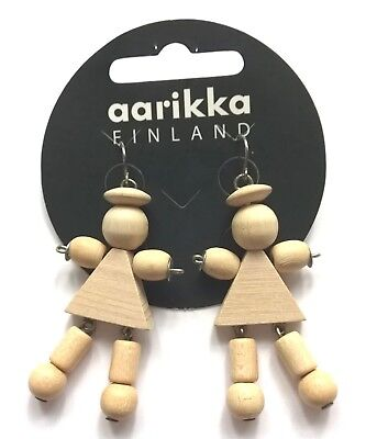 AARIKKA Finland - Very Cute Doll Earrings in Light Color Wood  NEW - RARE for sale  Finland