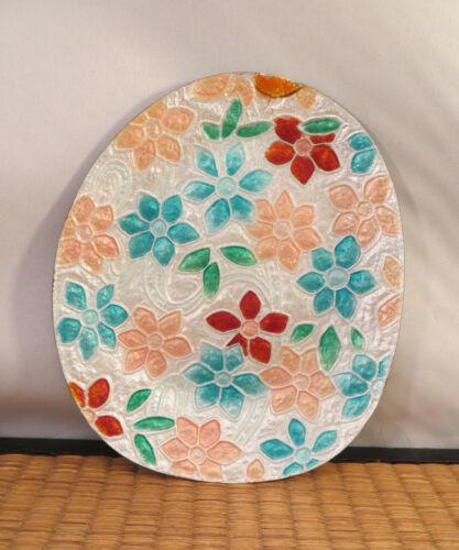 "Vintage Japanese Ginbari Cloisonne Enamel Dish Plate Flowers Water Japan 6"""
