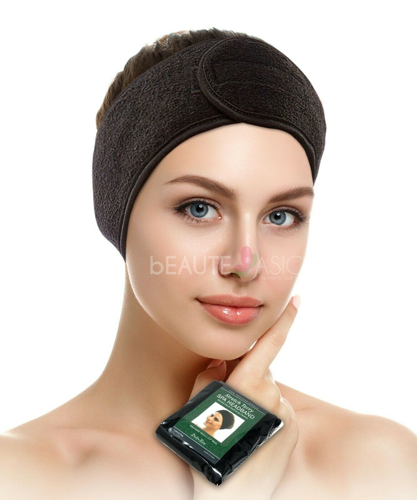 AH1008Bx1 Salon and Spa Black Stretch Terry Spa Headband for Facial Makeup