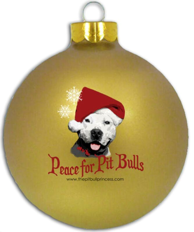 Peace for Pit Bulls Glass Christmas Ornament