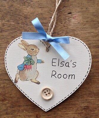 Personalise Beatrix Potter Plaque Door Bedroom Sign Girl Boy Baby PETER RABBIT ⭐