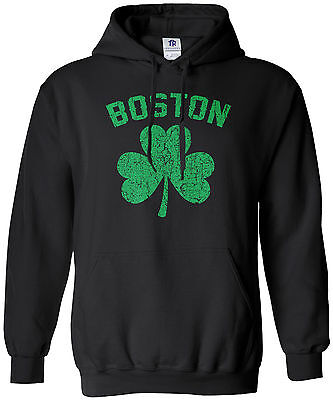 - Threadrock Men's Boston Shamrock (Green) Hoodie Sweatshirt Irish Pride