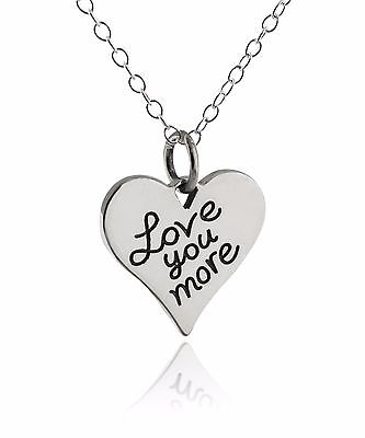 Love You More Heart Necklace - 925 Sterling Silver - Pendant Engraved Gift Charm