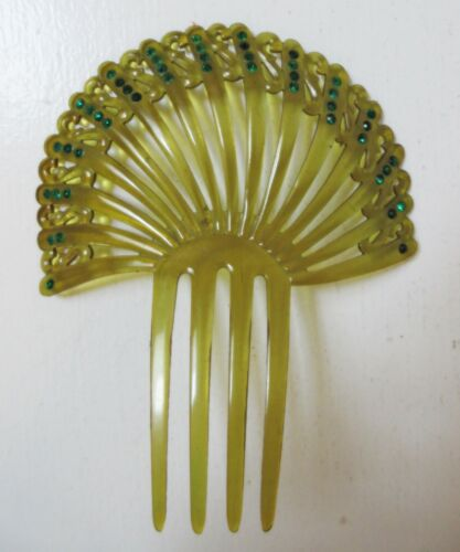 Large Vintage Hair Comb Green Rhinestone Olive Green Celluloid