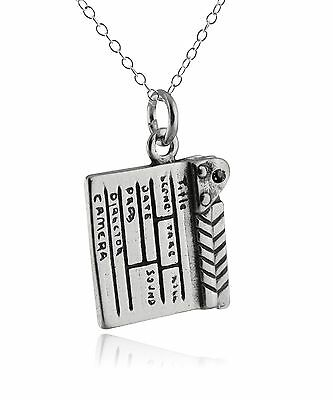 Directors Movie Clapboard Necklace - 925 Sterling Silver Charm Film TV Crew NEW
