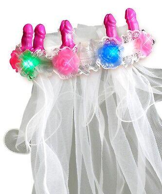 Bachelorette Party Favors Light-Up Pecker Veil - Bride Gag Gift (Bachelorette Veil)