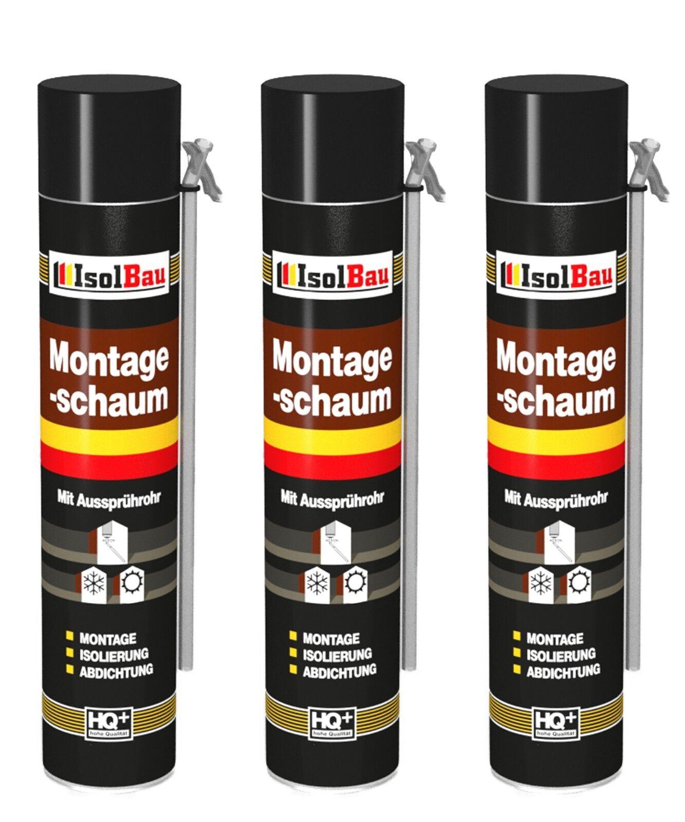 3 x 750 ml MONTAGESCHAUM MIT AUSSPRÜHROHR PU-SCHAUM  BAUSCHAUM 1K