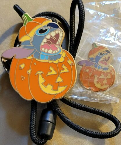 Disney DLR Stitch Pumpkin Jack-O-Lantern Halloween Cast LE 1000 Lanyard & Pin