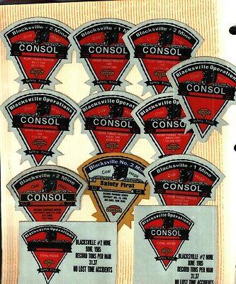 12 Diff  Nice Blacksville Coal Hogs Consol Coal Co  Coal Mining Stickers   783