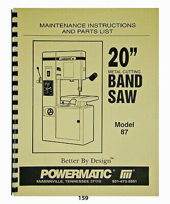 Powermatic 20 Band Saw Maintenance Instructions Parts List Model 87 159
