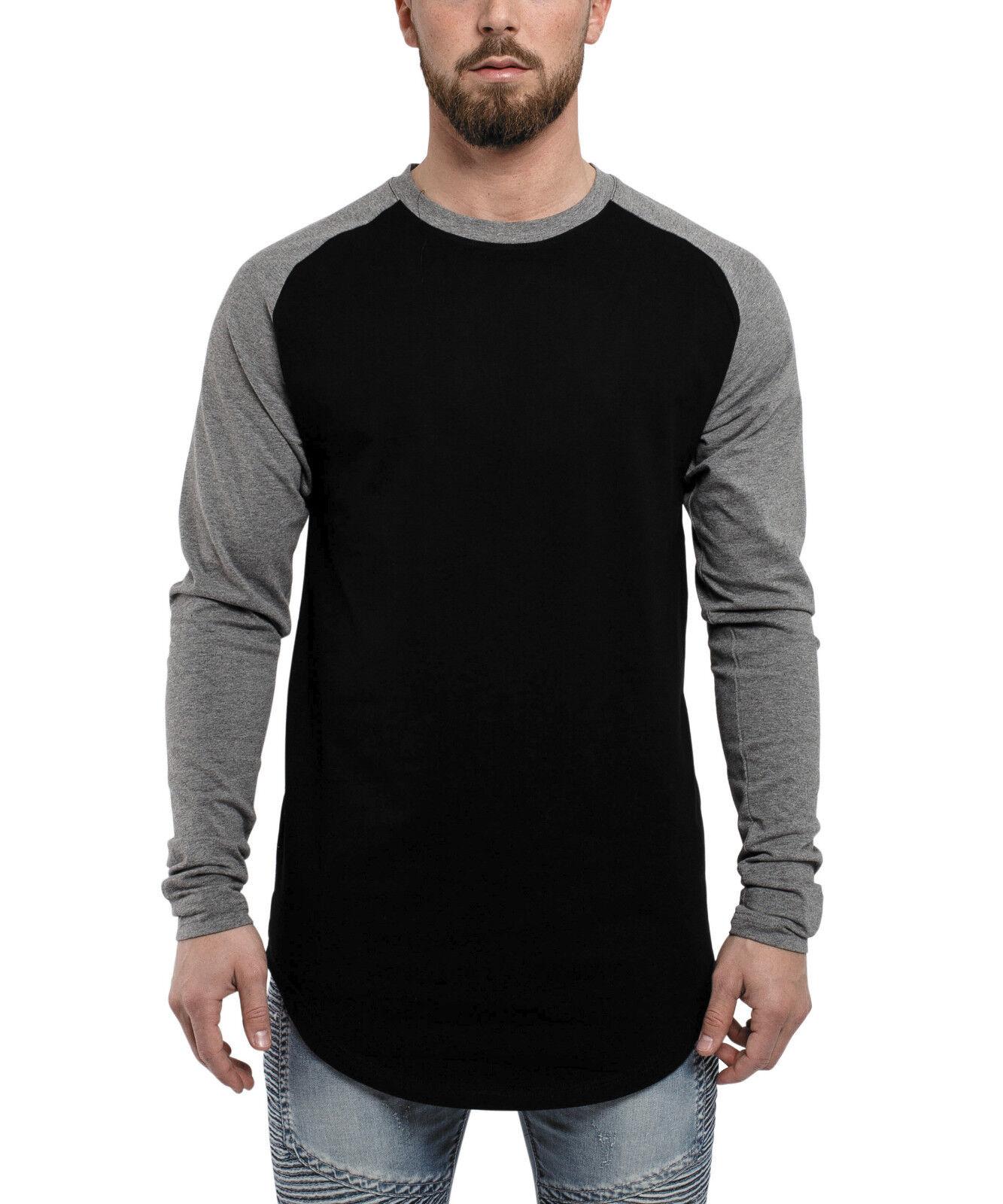 Blackskies Baseball T-Shirt Longshirt Schwarz Grau Longline Herren Men Basic Tee