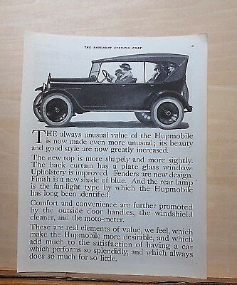 1921 magazine ad for Hupmobile - Always unusual value now made even more unusual